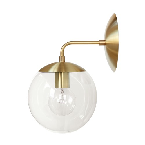 Wall Lamps Nz : Brass Globe Wall Sconce - Brass and clear glass
